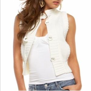 Bebe Cream Cropped Knit Vest SMALL